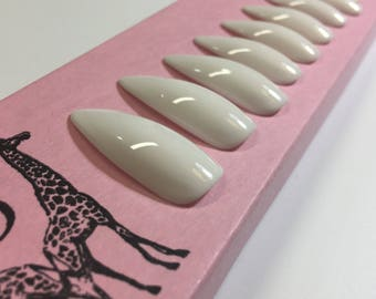 Gloss White - Long Stiletto Press On Nails for Drag Queens