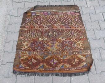 Vintage Old Tribal Turkish Cicim Kilim Rug, Brown Anatolian cicim-kilim Rug, Entry Rug, Handwoven Small Rug, 3'0x3'2 / 92 X 99 cm