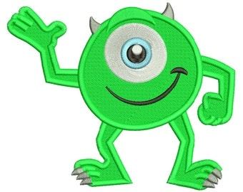 Mike Monsters Inc Embroidery Design Filled Stitch 3 sizes Instant Download