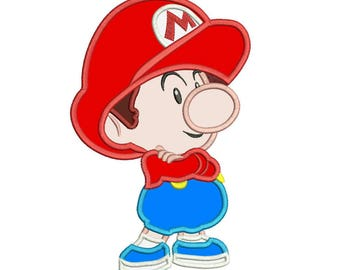 Baby Mario Applique Design 3 sizes instant download
