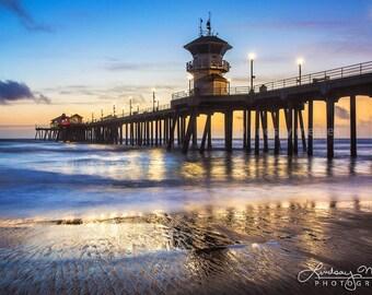 "Huntington Beach Wall Art | ""HB Pier at Dusk"" | Classic Beach Photo | Huntington Beach Night Photo - Blue Beach Photo - Blue Beach Art Print"