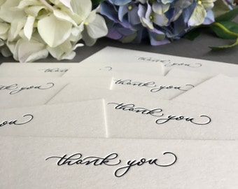 Pack of 10 luxury letterpress thank you cards