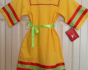 Native American Regalia Traditional Tiny Tot CORN YELLOW Ribbon Dress © Size 2-3 with BLING!