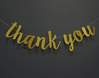 THANK YOU Gold Glitter Script Banner Sign | Wedding, Engagement, Photoshoot | Gold Glitter & Kraft, Premium Double-Backing