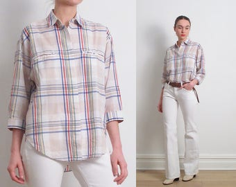 80s DVF Pastel Plaid Shirt / S-M