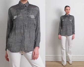 70s Metallic Silver Grey Shirt / S-M