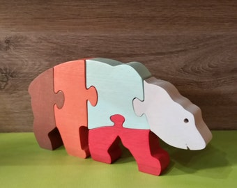 Toy wooden bear puzzle
