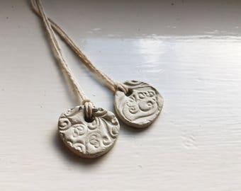 Stamped Clay Necklace