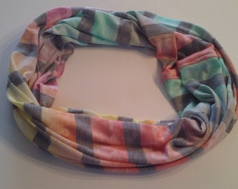 Infinite light scarf, 1 thickness, 2 or 3 laps, eternity scarf, striped pastel style, fashion, gift idea, stretchy knit accessory
