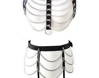 Faux leather open bust top and suspender belt set in UK size 6-16