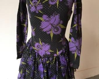 Betsey Johnson 80s Punk Label cotton & chiffon party dress