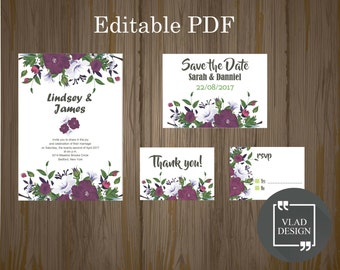 Editable Wedding Invitation Set Editable PDF Wedding invitation Save the Date RSVP Thank you card Printable invitation wedding template