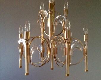 Sciolari chandelier brass Crystal 70s vintage