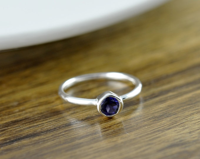 Sterling Silver Round Iolite Ring - Iolite Ring - Statement Ring - Gemstone Ring - Solitaire Ring - Stacking Rings - Gift for Her