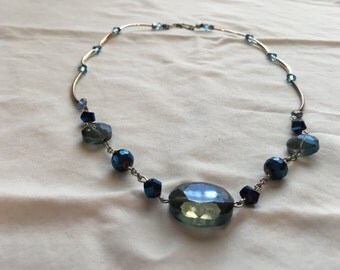 Sparkling blue beaded necklace