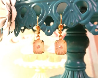Dainty Crystal and Camphor Glass Earrings in Gold Shell Leverback