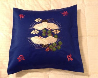 Decorative Asian Throw Pillow Covers w/Japanese Cranes embroidered design on front