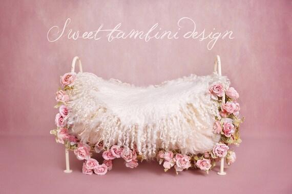 Newborn Photography Digital Backdrop Vintage Rose Bed Instant