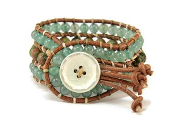Boho Rea * Aventurine & Unakite. 3 strand Wrap Bracelet. Boho Style. Bohemian Jewelry. Semiprecious stones. Gift for her. Cuff Bracelet.