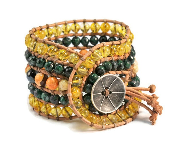 Matsu Pitsu * 5 strand Statement Wrap Bracelet. Boho Style. Bohemian Jewelry. Semiprecious stones. Gift for her. Unique Design.