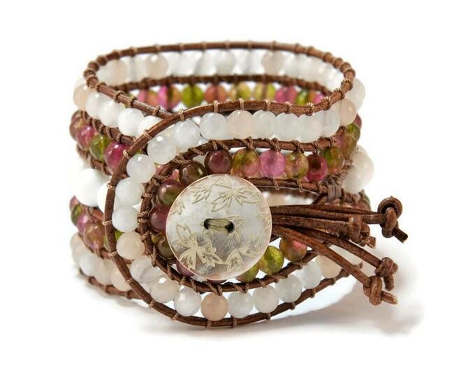 Caramel * 5 strand Statement Wrap Bracelet. Boho Style. Bohemian Jewelry. Semiprecious stones. Gift for her. Unique Design.