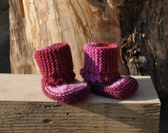 Hand knitted baby girls shoes