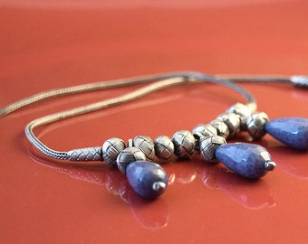 Necklace, Sterling Silver Necklace, Blue Kyanite Gemstone Necklace, Drop Necklace, Oxidized Silver necklace, For her