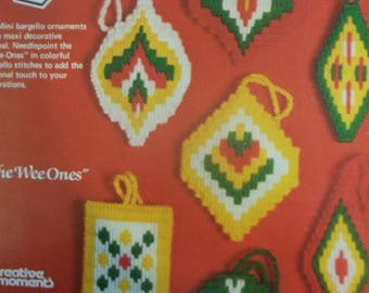 "Needlepoint Christmas Ornaments Set of 7 -  Approximately 3""  X  4"""