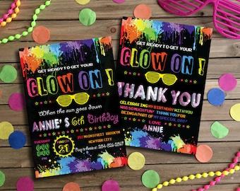 Glow Birthday Invitation, Glow Party Invitation, Glow Invitation, Neon Birthday Invitation, Neon Glow Invitation, Neon Thank You Card | NG_1