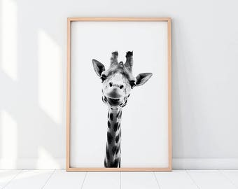 Giraffe Head, Giraffe Black And White Print, Giraffe Print, Giraffe Printable, Giraffe Art, Black And White Print, Animal Print, Decor, Art
