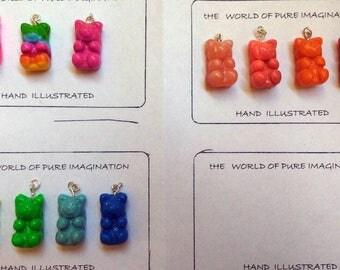 polymer clay gummy bears pendant . Gummy bears jewelery.cute animal.Buy Directly From Artist.fair trade.handmade.
