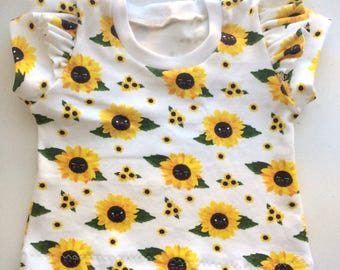 Organic Knit Flutter Sleeve Tee // Sunflowers