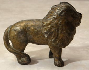 old toys cast iron bank penny bank still bank lion collection collectible antique gift