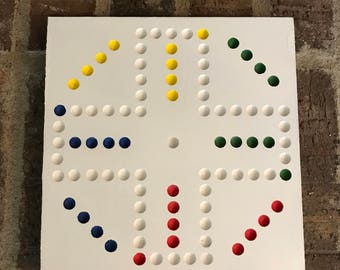"Travel size 8"", 4-Player Aggravation Board (Wahoo) with Marbles, dice, and instructions."