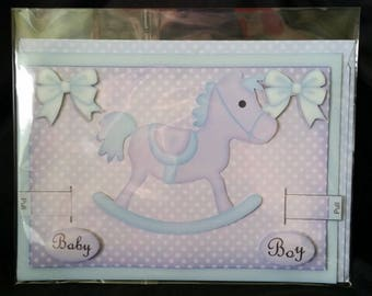 Baby Boy 3D Moveable Rocking Horse Announcement or Congratulations Greeting Card