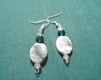Sale!!! Stones with Green and Silver Dangle Earrings