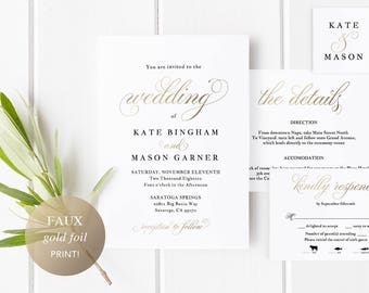 Printable Wedding Invitation Template, Wedding Invitation Set, DIY Wedding Cards, Download, Modern Calligraphy, Faux Gold Wedding #SPP018wis