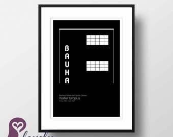 Walter Gropius Poster | Bauhaus | Architecture | Famous Buildings | Wall Art | Wall Decor | Home Decor | Prints | Poster | Digital Paper