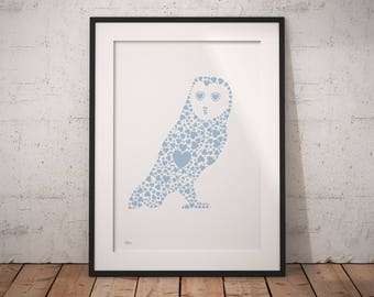 Woodland nursery decor, owl print, hygge decor, hygge print, nursery wall art, nursery animal print, owl gift, owl wall art, owl nursery