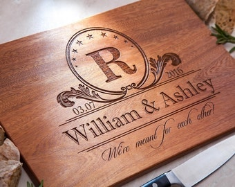 Engagement gift For Couple Personalized Cutting Board Engraved Decor Chopping Wedding Present Anniversary Monogram Custom Engagement gift