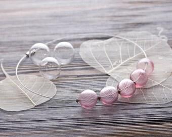 SALE !!! Bubble glass necklace choker, Blown glass, Glass bubble necklace, Striped Blown Glass Beads, Bubble necklace, Blown beads necklace