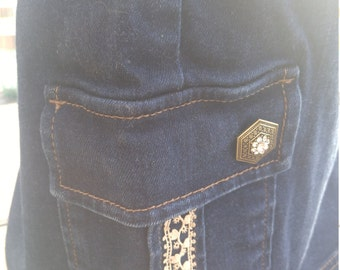 Woman's One of a Kind Denim Skirt with Vintage Lace