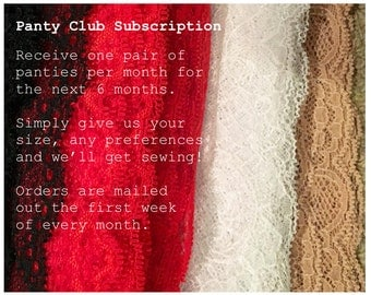6 Month 'Panty Club' Subscription: Lingerie, Knickers
