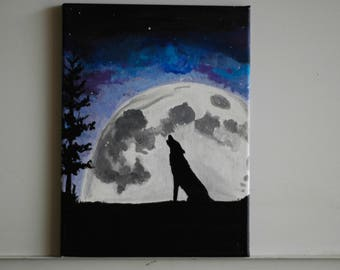 wolf painting | etsy