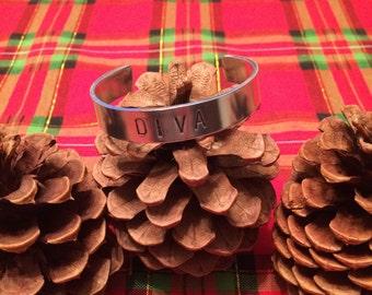 DIVA cuff bracelet, aluminum food safe safe for your skin, gift idea