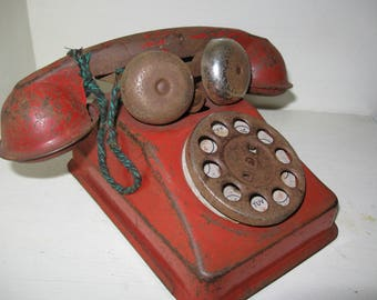 ship  free Toy Phone Tin Childrens Red Voice Phone Gong Bell Rotary Dial  Adorable rusty aged tin