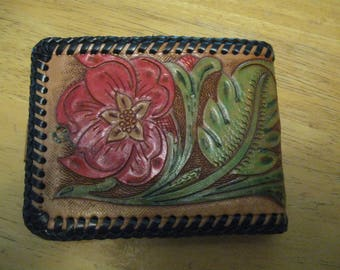 ship free Western Tooled Clutch Leather Wallet