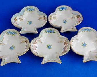 5 Nippon Open Salt Cellars or Butter Pats 3-Leaf Clover Shape Blue Rising Sun Mark  HP Floral Moriage Dots