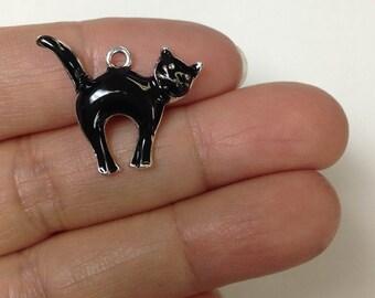 6 Pieces Hallowen Black Cat Charm. Black Kitten Charm, Kitty Charm, Hallowen Charm