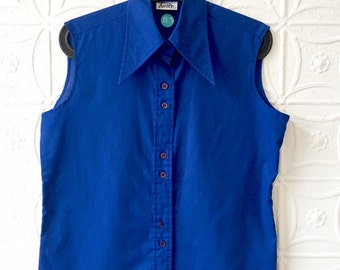 Vintage Blue Collared Tank